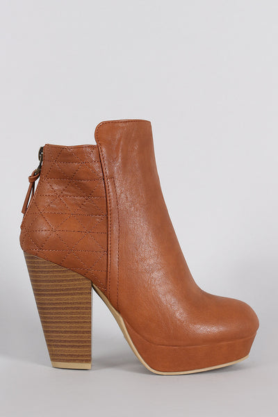 Wild Diva Lounge Criss-Cross Stitching Platform Chunky Heeled Booties