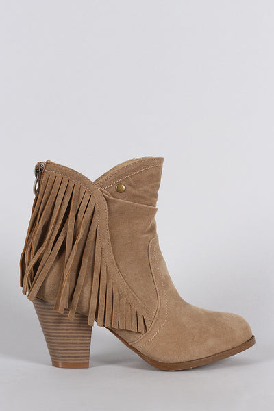 Suede Fringe Ruched Round Toe Heeled Western Ankle Boots