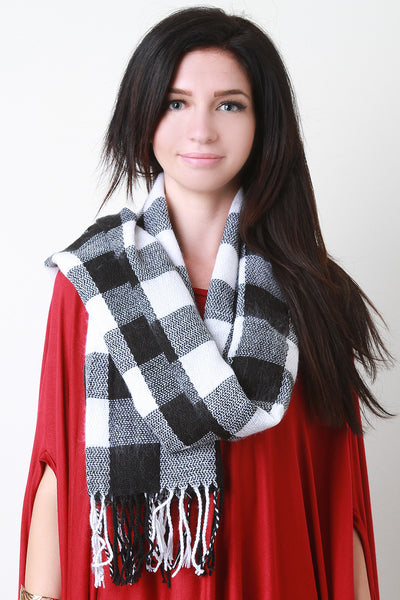 Gauze Knit Plaid Scarf
