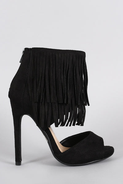 Delicious Fringe Tiers Ankle Cuff Peep Toe Heel