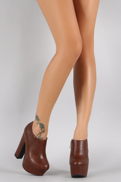 Dollhouse Round Toe Platform Heeled Booties
