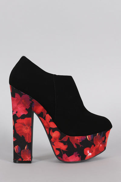 Dollhouse Round Toe Floral Print Platform Heeled Booties