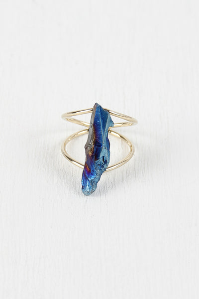 Double Band Iridescent Stone Ring