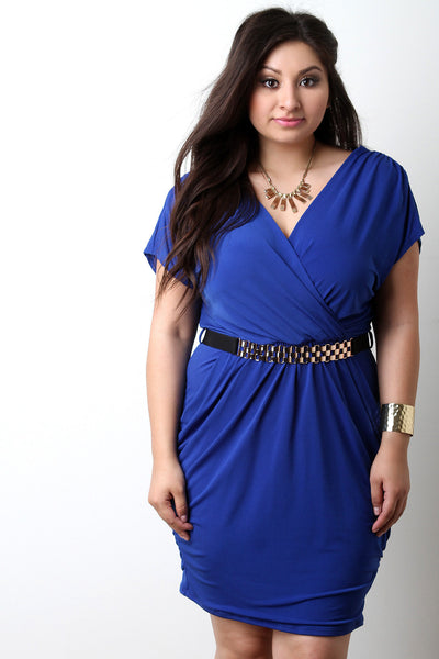 Ruched Surplice Dress With Belt