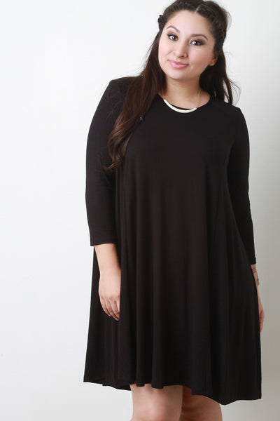 Round Neck Long Sleeves Teardrop Midi Shift Dress