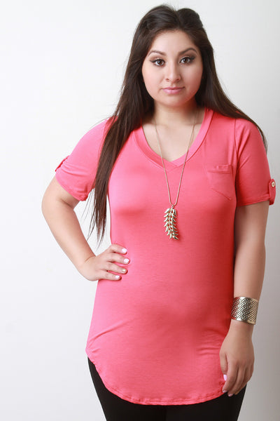 V-Neck Pocket Tab Sleeve Round Hem Top