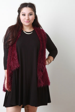 Back Contrast Knit Sleeveless Drape Faux Fur Vest