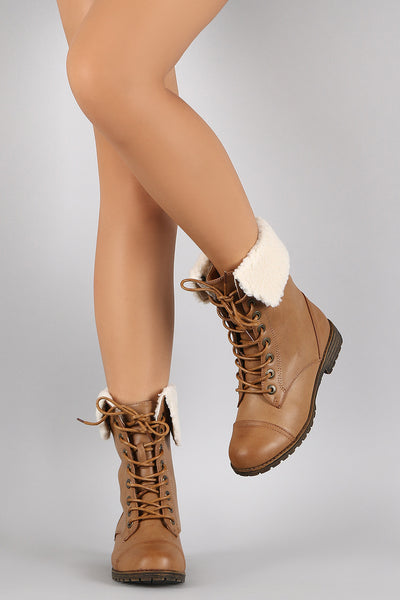 Dollhouse Shearling Cuff Combat Lug Booties