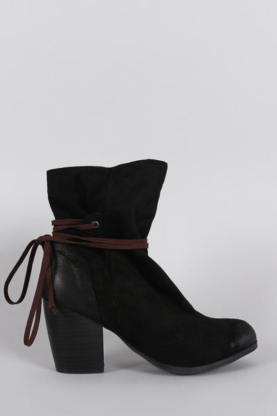 Qupid Suede Lace Tie Chunky Heeled Ankle Boots