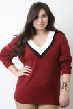 Tri-Tone V-Neck Sweater Top