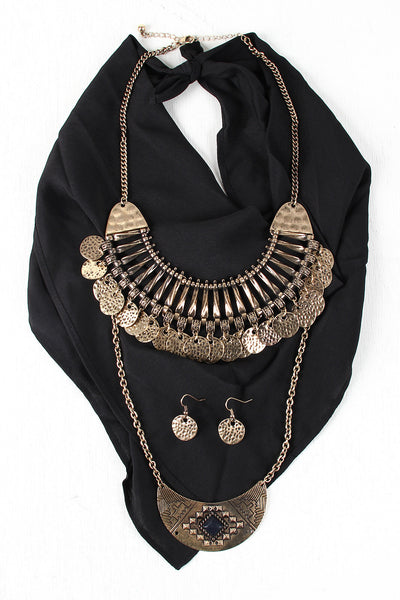 Tribal Bib Necklace And Bandana Set