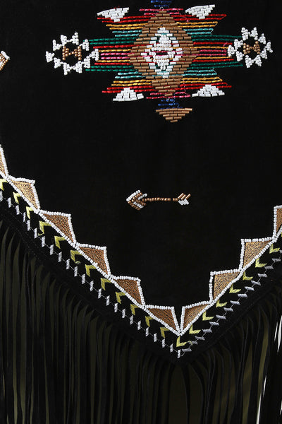 Aztec Beaded Embroidery Fringe Suede Triangle Scarf