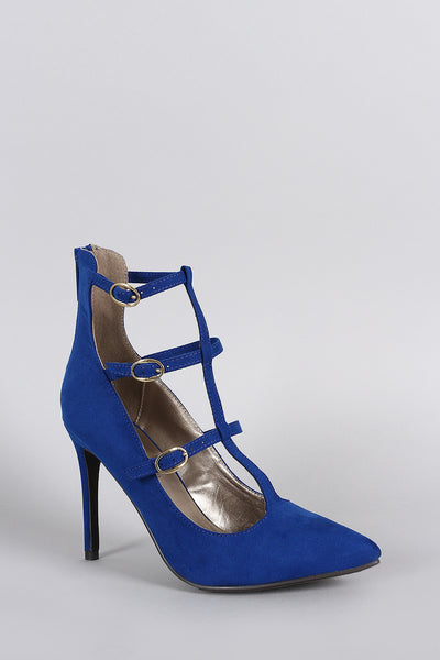 Breckelle Suede Buckled Caged Pointy Toe Stiletto Pump