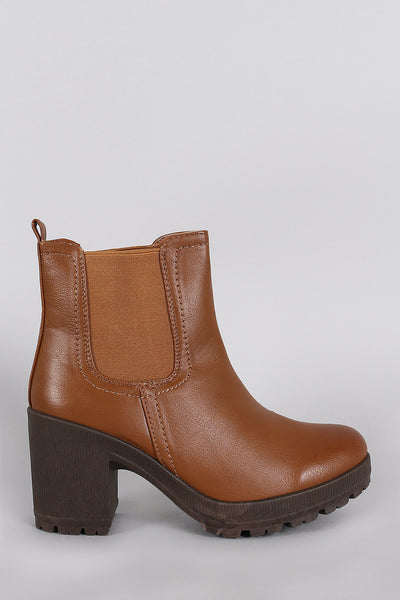 Elastic Gore Round Toe Heeled Ankle Boots