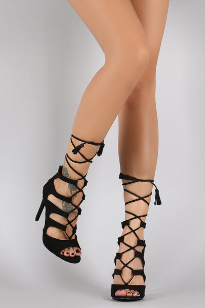 Suede Strappy Lace Up Peep Toe Stiletto Heel