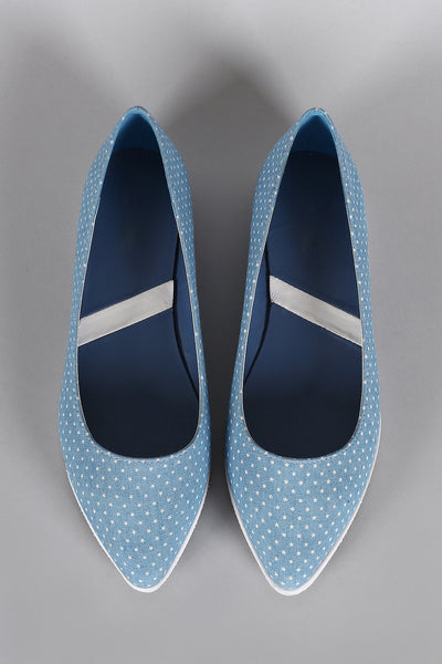 Denim Stars Print Slip On Loafer Flat