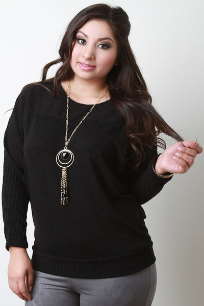 Ribbed Yoke Long Sleeves Knit Top With Necklace