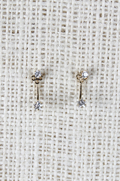 Double Rhinestone Star Studs Jacket Earrings