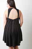 Pleated Open Back Romper