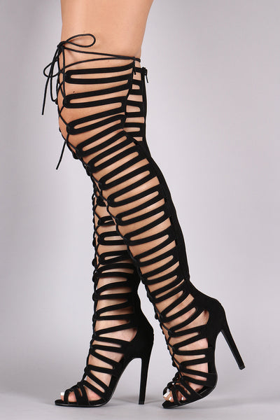 Suede Strappy Cage Lace-Up Open Toe Thigh High Heels
