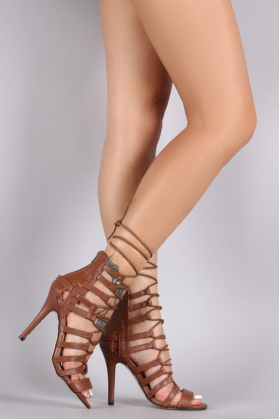 Strappy Corset Lace-Up Single Sole Heel