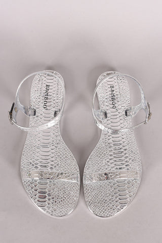 7abcce7a440 Sold Out Bamboo Snake Embossed Open Toe Jelly Flat Sandal