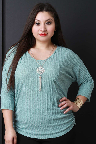 Marled Knit Dolman Sleeves Necklace Top