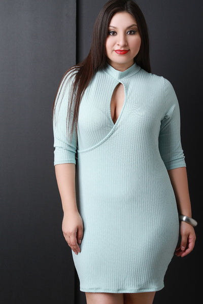 Ribbed Mock Neck Keyhole Dress