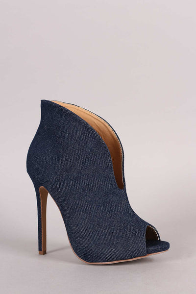 Liliana Denim V-Slit Peep Toe Stiletto Booties