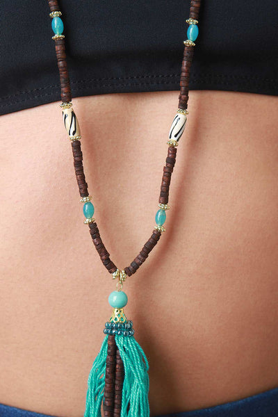 Beads And Tassel Necklace Set
