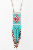 Diamond Beaded Fringe Pendant Necklace