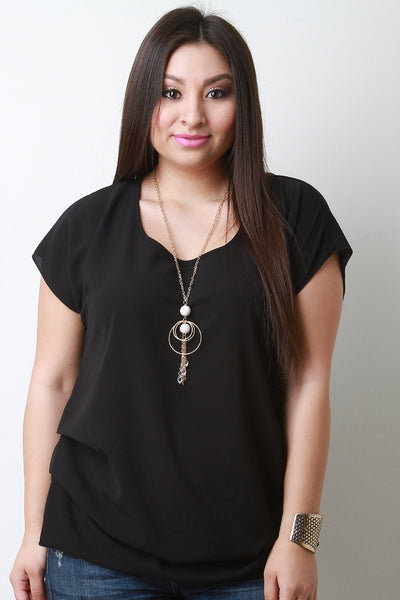 Side Pleats Keyhole Necklace Blouse