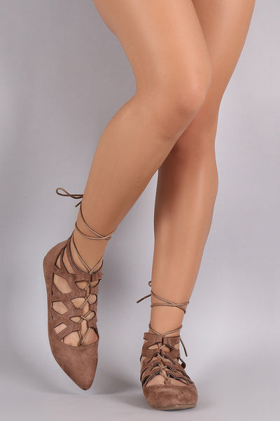 Suede Caged Lace Up Pointy Toe Flat