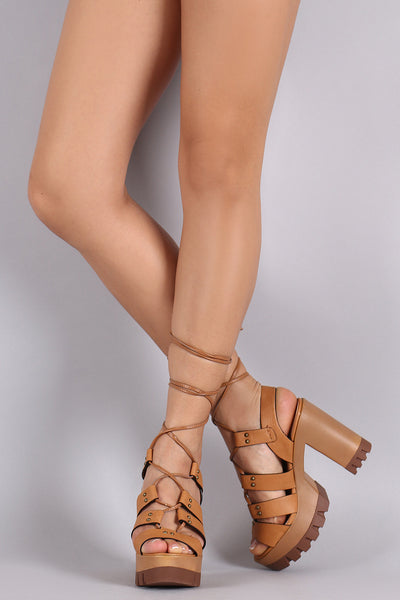 Wild Diva Lounge Strappy Lace-Up Lug Sole Platform Heel