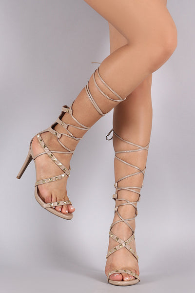 Wild Diva Lounge Studded Strappy Lace-Up Heel