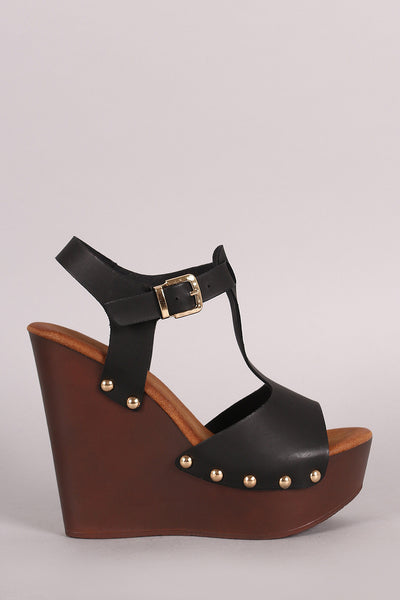 Studded T-Strap Wooden Platform Wedge