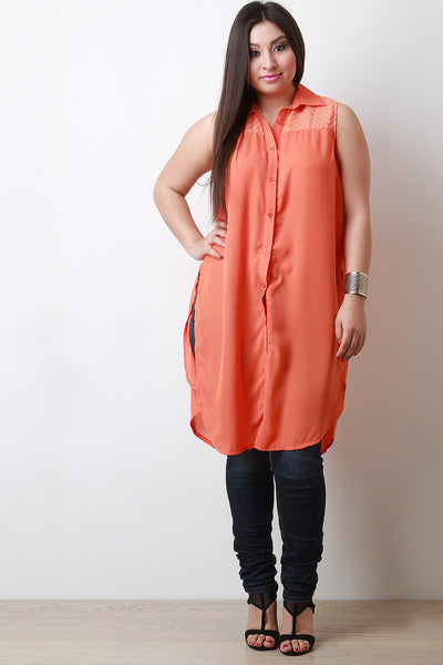 Sleeveless Button Down Maxi Top