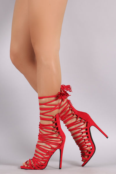 Privileged Suede Corset Lace-Up Stiletto Heel