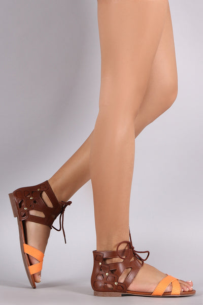 City Classified CrissCross Ankle Cuff Lace Up Flat Sandal