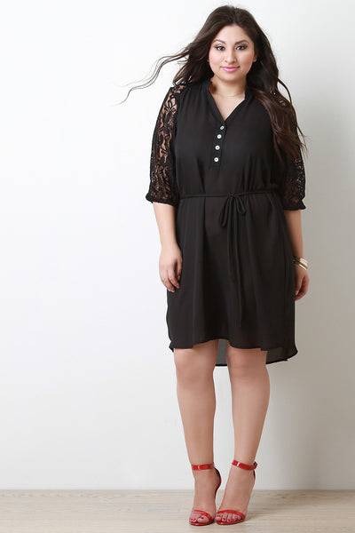Floral Lace Accent Button-Up Midi Dress