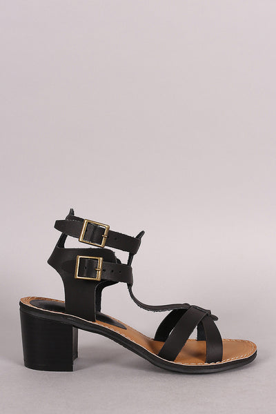 Bamboo Ankle Cuff Cirsscross Strap Chunky Heel