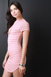 Horizontal Striped Boat Neck Mini Dress