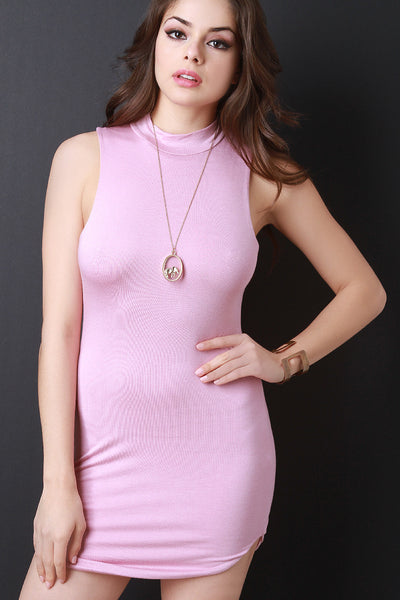 Sleeveless Mock Neck Jersey Mini Dress