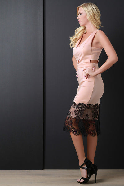 Cutout Lace Hem Bodycon Midi Dress