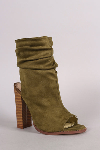 Liliana Slouchy Shaft Open Toe Booties