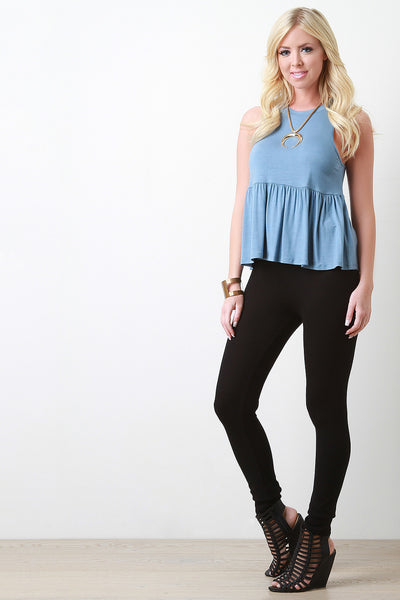 Jersey Knit Round Neck Ruffle Bottom Top
