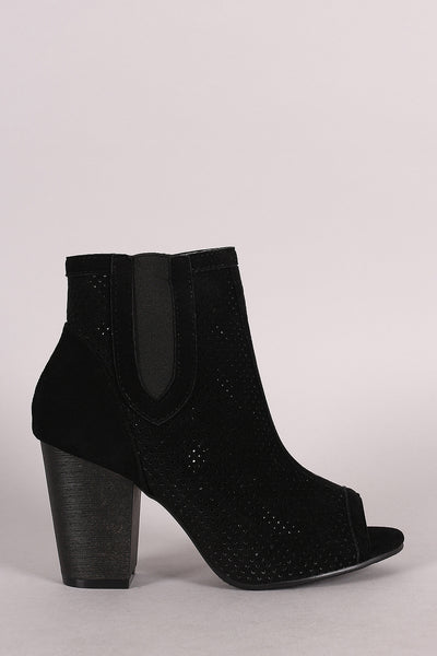 Perforated Peep Toe Chunky Heel Bootie