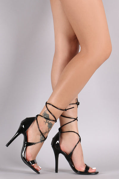 Patent Open Toe Lace-Up Stiletto Heel