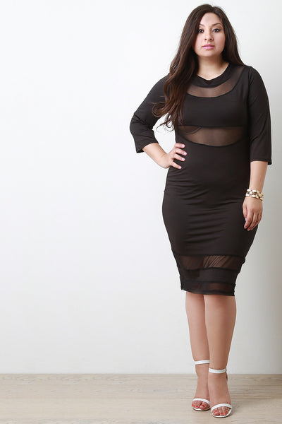 Mesh Contrast Quarter Sleeve Bodycon Midi Dress