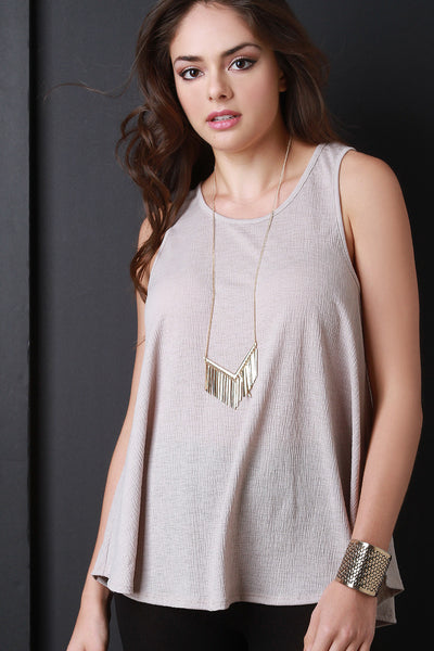 Crinkle Round Neck Sleeveless Top